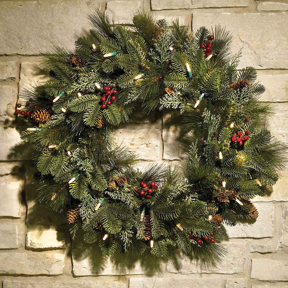 the decorated cordless prelit holiday trim wreath jpg 1000x1000 classic christmas wreaths