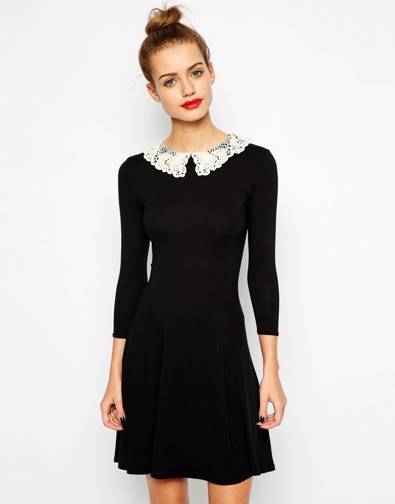 Black dress with white peter pan collar - Peter Pan Collar Dress Black And White Re Re