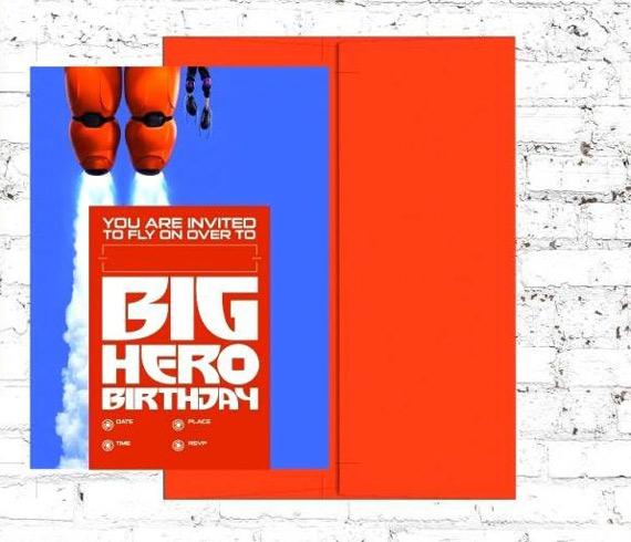 Big Hero 6 Themed Birthday Party Invitations