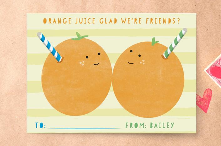 Orange You Glad Weu0027re Friends Classroom Valentineu0027s Day Card