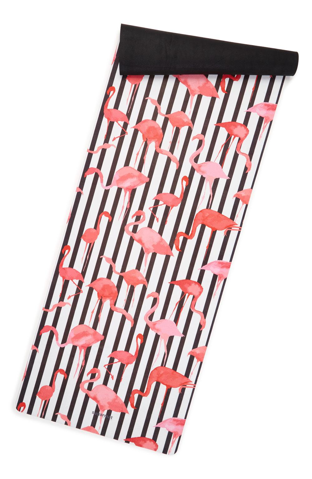 Colorful yoga mat in flamingo print