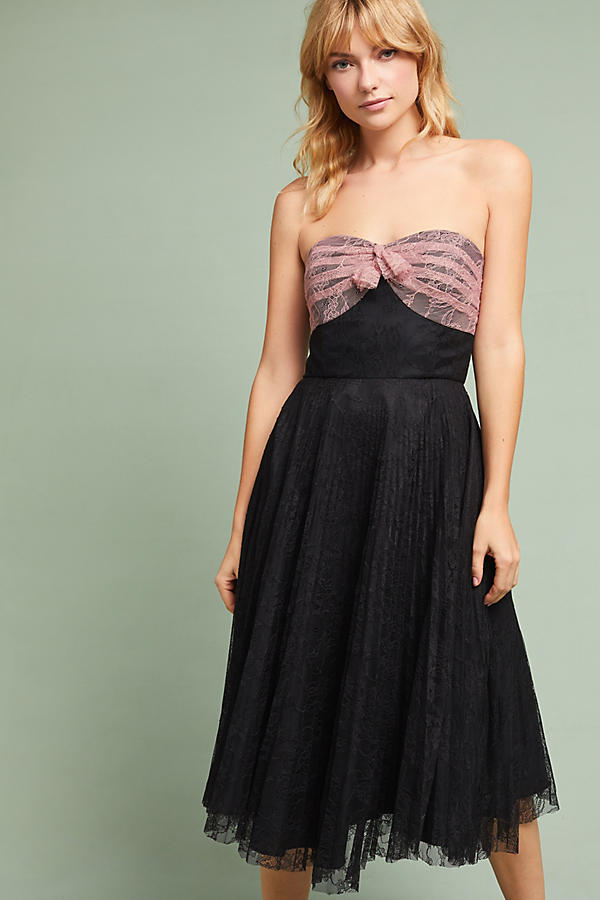 Anna Sui Party Pleated Lace Dress