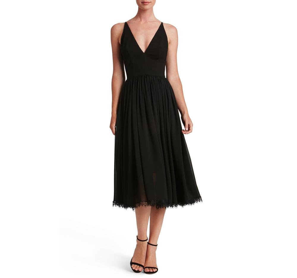 Midi Mixed Media Holiday Party Dress in Black
