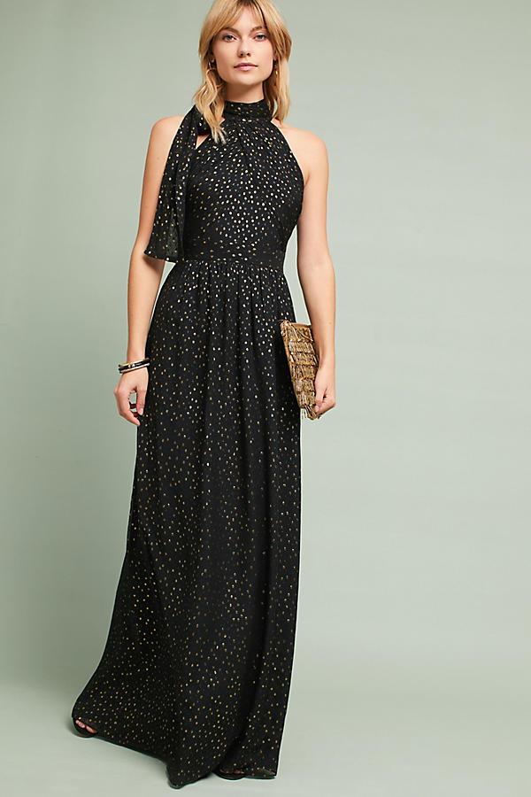 Shoshanna Silk Halter Maxi Party Dress